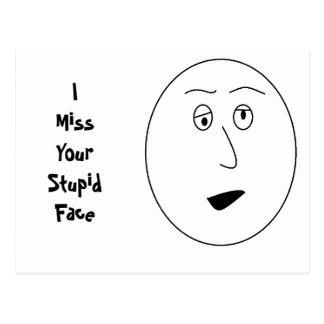 I Srta. Your Stupid Face Postcard Postal