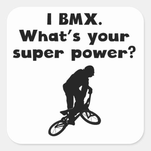I superpoder de BMX Pegatinas Cuadradases Personalizadas