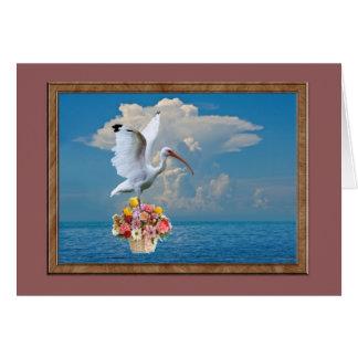 Ibis con la tarjeta de uso múltiple de las flores