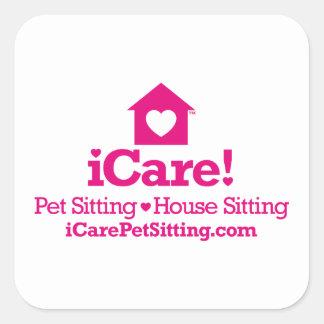 ¡iCare! - iCarePetSitting.com Colcomanias Cuadradas Personalizadas