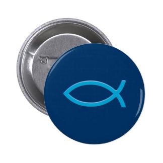 Ichthus - símbolo cristiano de los pescados - azul chapa redonda 5 cm