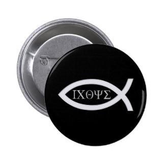 Ichthus - símbolo cristiano de los pescados chapa redonda 5 cm