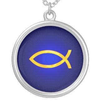Ichthus - símbolo cristiano de los pescados collar plateado