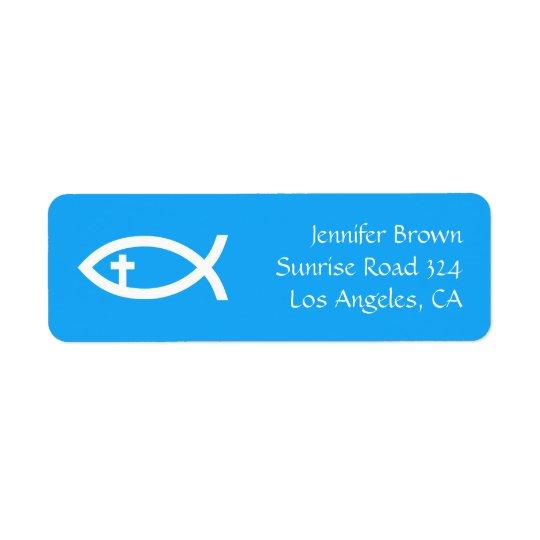 Ichthus - símbolo cristiano de los pescados etiqueta de remitente