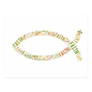 Ichthus - símbolo cristiano de los pescados - fe postal