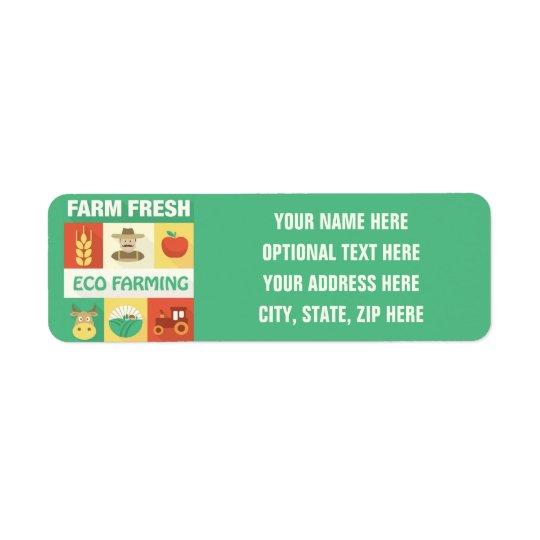 Icónico profesional del granjero diseñado etiquetas de remite