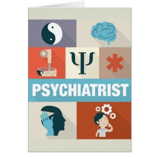 Icónico profesional del psiquiatra diseñado tarjeta de felicitación