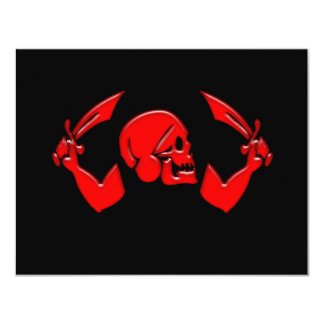 Icono #3-Red del pirata Invitación 10,8 X 13,9 Cm