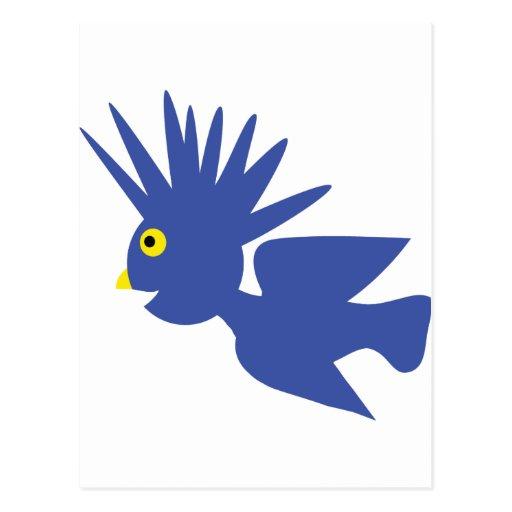 icono azul del pájaro postales