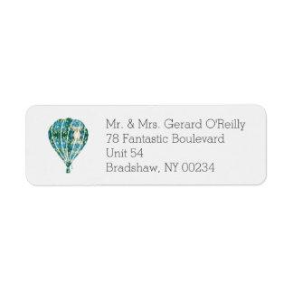 Icono azul y verde del globo del aire caliente etiquetas de remite