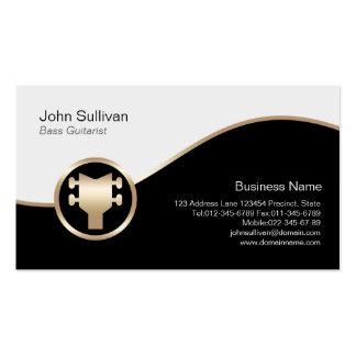 Icono bajo de la guitarra baja del oro de la tarje plantillas de tarjeta de negocio