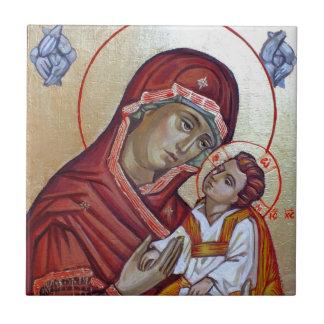 Icono bizantino del estilo Santa María Teotokos Azulejo De Cerámica