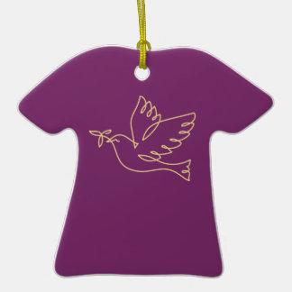 Icono de la paloma de la paz adorno de cerámica en forma de camiseta