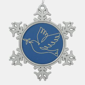 Icono de la paloma de la paz adorno de peltre en forma de copo de nieve