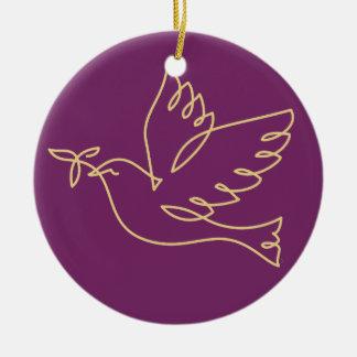 Icono de la paloma de la paz adorno navideño redondo de cerámica