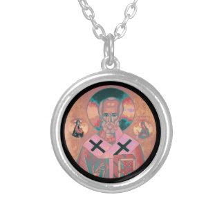 Icono de Nicholas del santo Collar Plateado