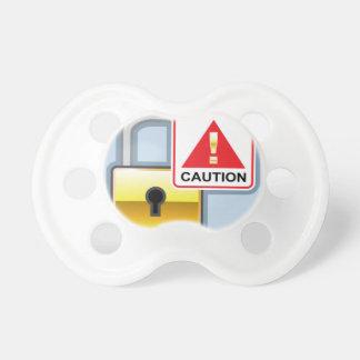 Icono de oro del vector de la cerradura de la chupete de bebe