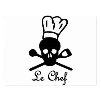 icono del cráneo de le chef tarjetas postales