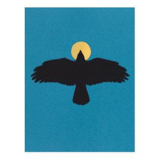 icono del cuervo del vuelo de la postal