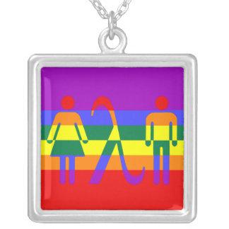 icono del orgullo del lgbt collar plateado