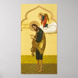 Icono del ruso de San Juan Bautista Póster