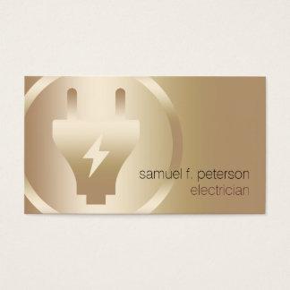 Icono intrépido elegante del oro del enchufe tarjeta de visita