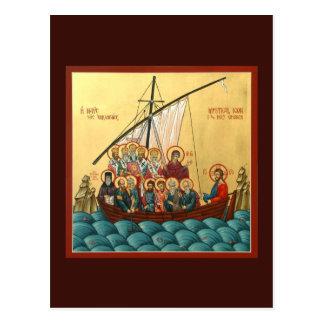 Icono místico de la tarjeta santa del rezo de la postal