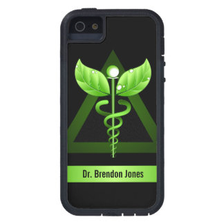 Icono natural de la terapia del caduceo verde funda para iPhone SE/5/5s