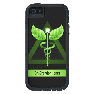 Icono natural de la terapia del caduceo verde iPhone 5 protector