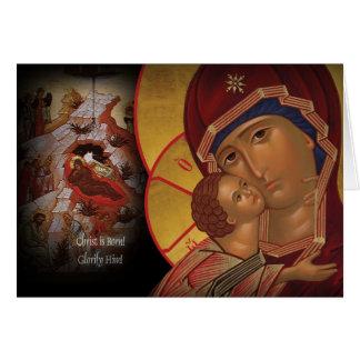 Icono ortodoxo de Theotokos de la tarjeta de