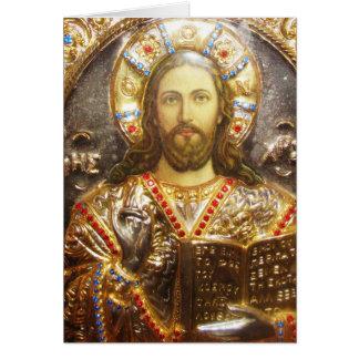 Icono ortodoxo del señor Jesucristo Tarjeta De Felicitación