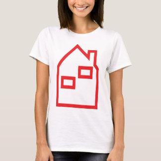 icono rojo de las propiedades inmobiliarias de la camiseta