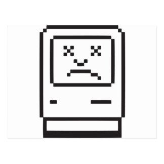 Icono triste del ordenador tarjeta postal