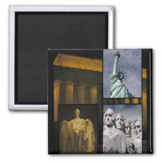Iconos americanos de la historia imán cuadrado