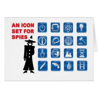 Iconos azules del espía tarjetón