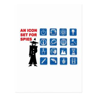 Iconos azules del espía postal