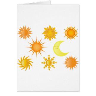 Iconos de Sun fijados Tarjeta De Felicitación