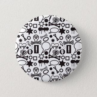 Iconos enrrollados blancos y negros chapa redonda de 5 cm