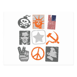 Iconos históricos del antiobama divertido postales