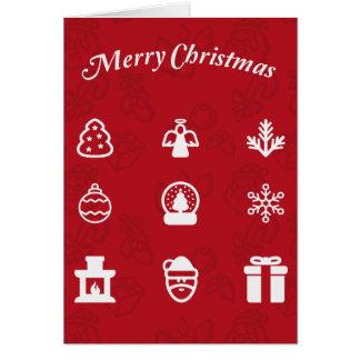 Iconos populares de las Felices Navidad fijados Tarjeta De Felicitación