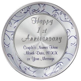 Ideas personalizadas para un aniversario del año, plato de porcelana