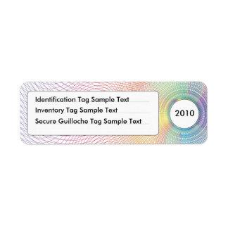 Identificación del guilloquis y etiqueta No.1 del Etiquetas De Remite