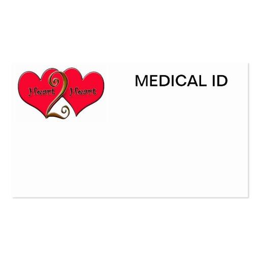 identificación médica de heart2heart plantillas de tarjetas de visita