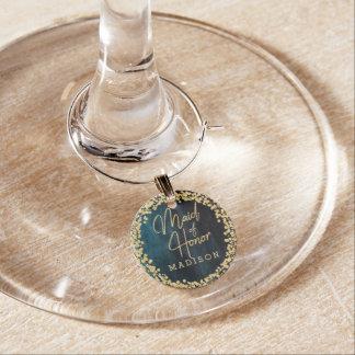 Identificador De Copa Acuarela de los azules marinos y criada del boda