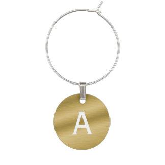 Identificador De Copa Encanto cepillado con monograma del vino del oro