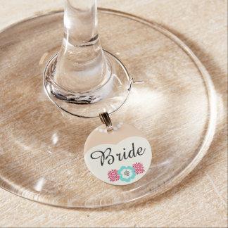 Identificador De Copa Encanto del vino del boda de la novia