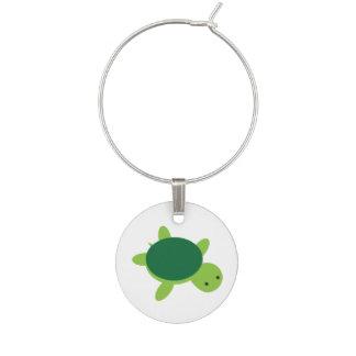 Identificador De Copa Encanto lindo del vino de la tortuga verde