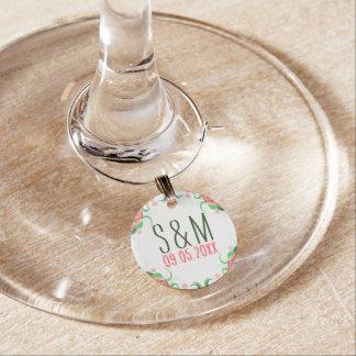 Identificador De Copa Encantos de encargo del vino del boda del hibisco