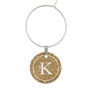 Identificador De Copa Falso brillo del oro con inicial del monograma