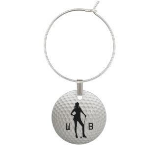Identificador De Copa Señora Golf Silver Wine Tag del monograma